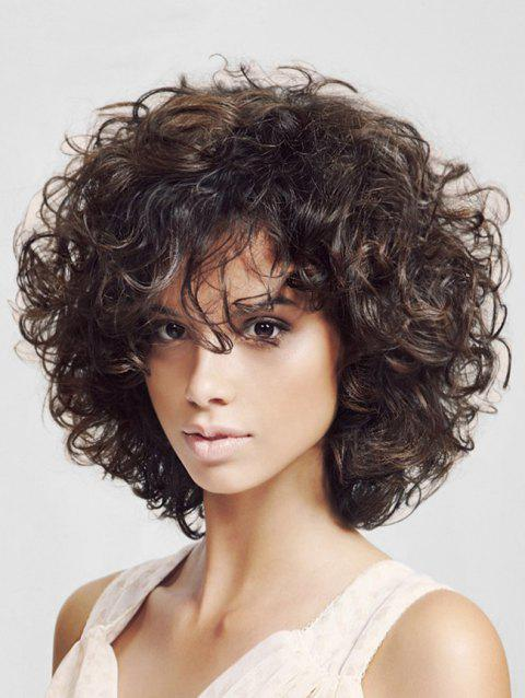 Free Part Fluffy Synthetic Afro Curl Wig - COFFEE