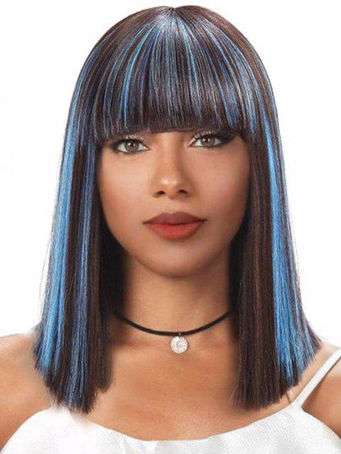 Full Bang Colormix Straight Bob Medium Synthetic Wig - TAUPE 14INCH