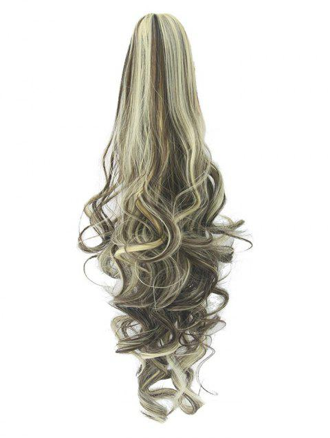Long Deep Body Wave Synthetic Clip-on Hair Piece - multicolor F