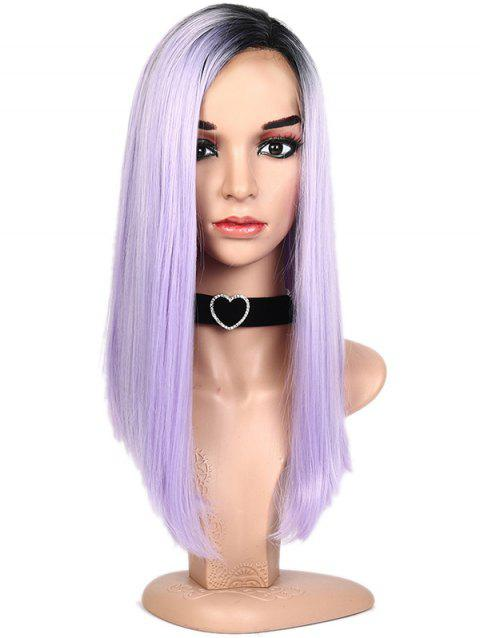 Lace Front Synthetic Ombre Side Part Long Straight Wig - MAUVE 22INCH