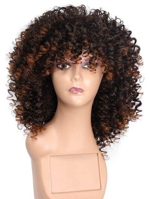 Fluffy Wild-curl Mixed Synthetic Medium Wig - COFFEE