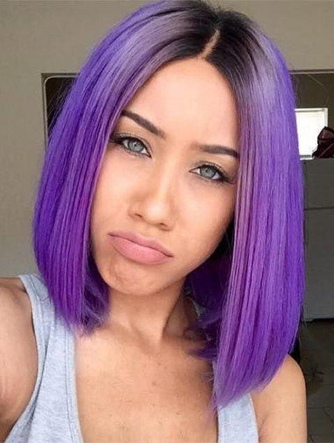 Synthetic Side Part Straight Ombre Bob Party Wig - PURPLE 12INCH