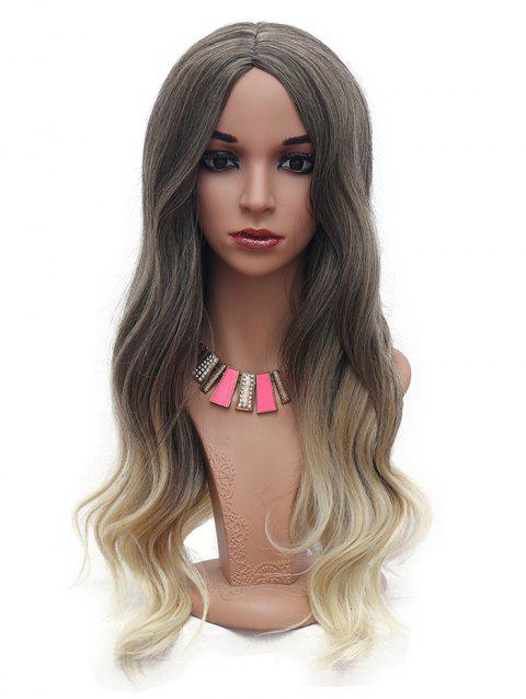 Long Body Wave Ombre Synthetic Center Part Wig - DARK KHAKI