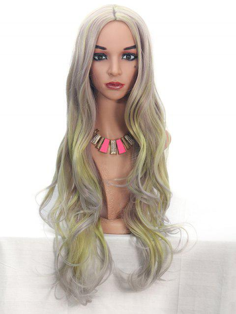 Synthetic Center Part Highlight Long Body Wave Wig - CHAMPAGNE GOLD 24INCH