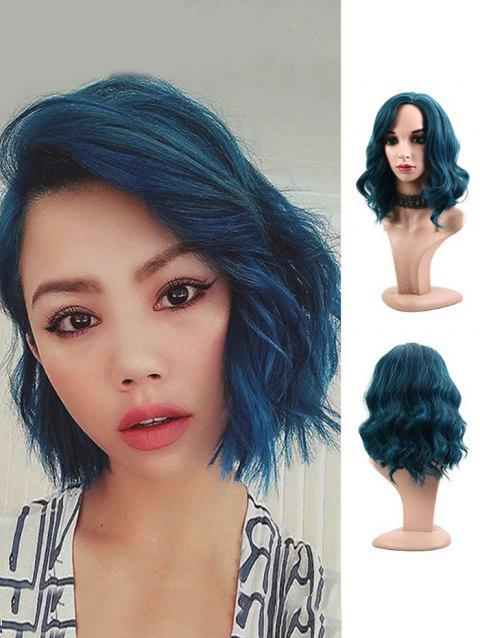 Synthetic Side Part Wavy Medium Party Wig - PEACOCK BLUE 14INCH