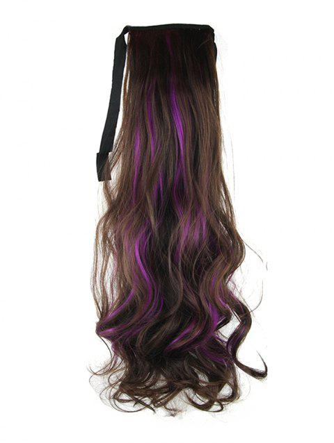 Long Highlights Body Wave Ombre Synthetic Lace-up Hair Piece - PURPLE