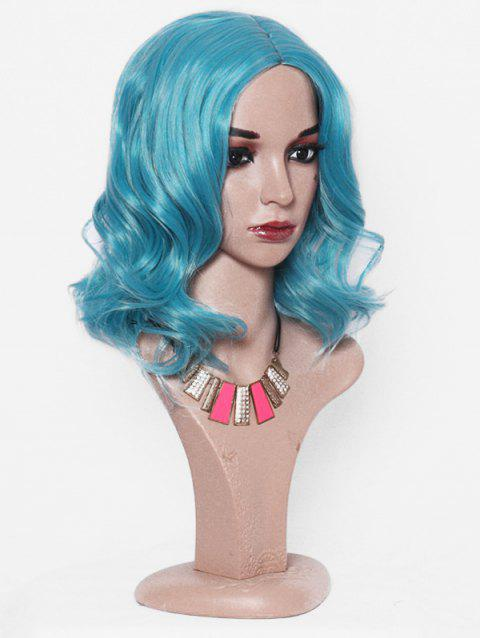 Medium Solid Center Part Synthetic Body Wave Wig - TURQUOISE 14INCH
