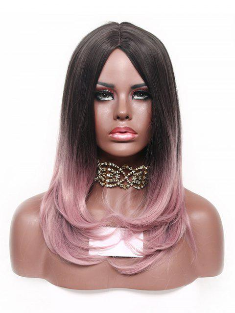 Long Synthetic Center Part Ombre Natural Straight Wig - KHAKI ROSE 22INCH