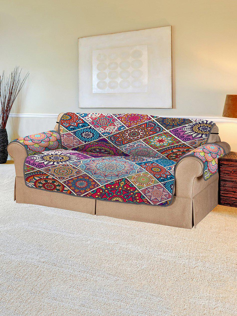 Christmas Bohemian Patchwork Pattern Couch Cover - multicolor TWO SEATS