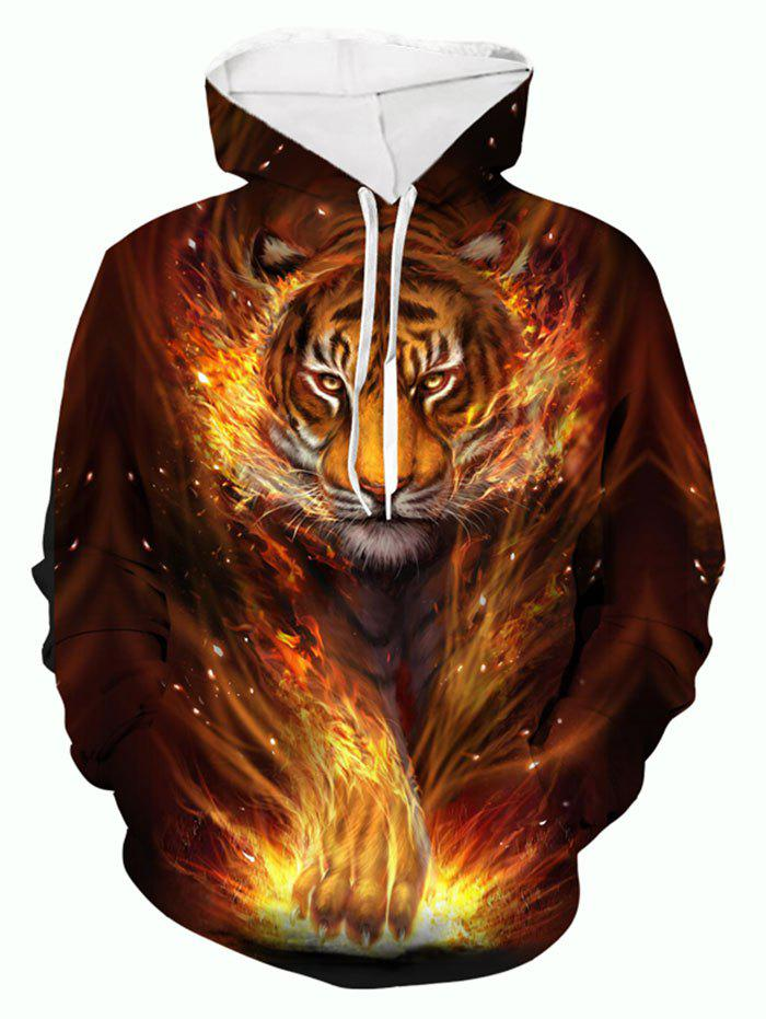 Fire Tiger 3D Print Pouch Pocket Casual Hoodie - multicolor 2XL
