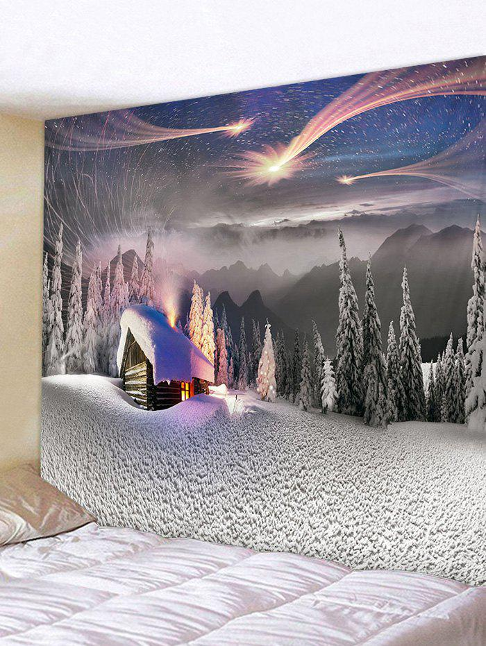 Christmas Snow Forest Pattern Tapestry - multicolor W79 X L59 INCH