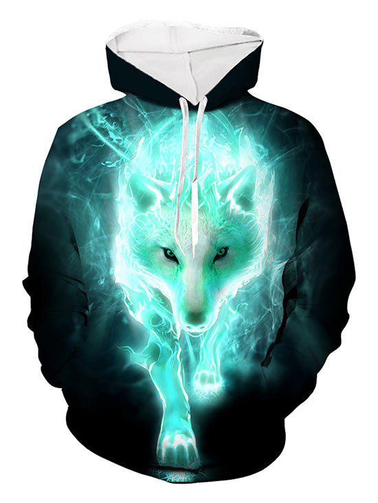 Wolf 3D Print Casual Drawstring Hoodie - multicolor 4XL