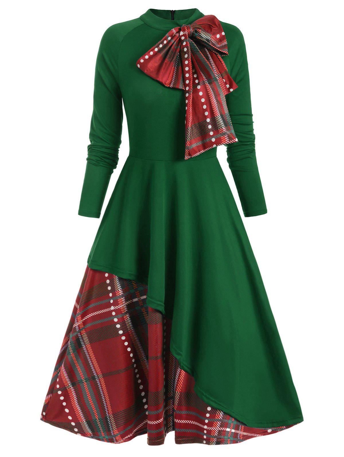 Plaid Contrast Bowknot Long Sleeves Overlay Dress - DEEP GREEN L