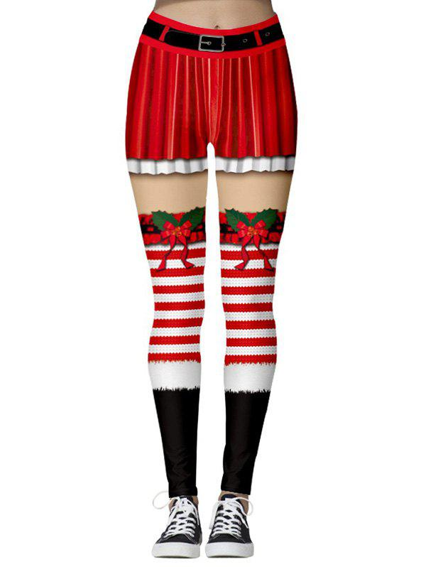 Santa Claus Printed Christmas Leggings - multicolor B S