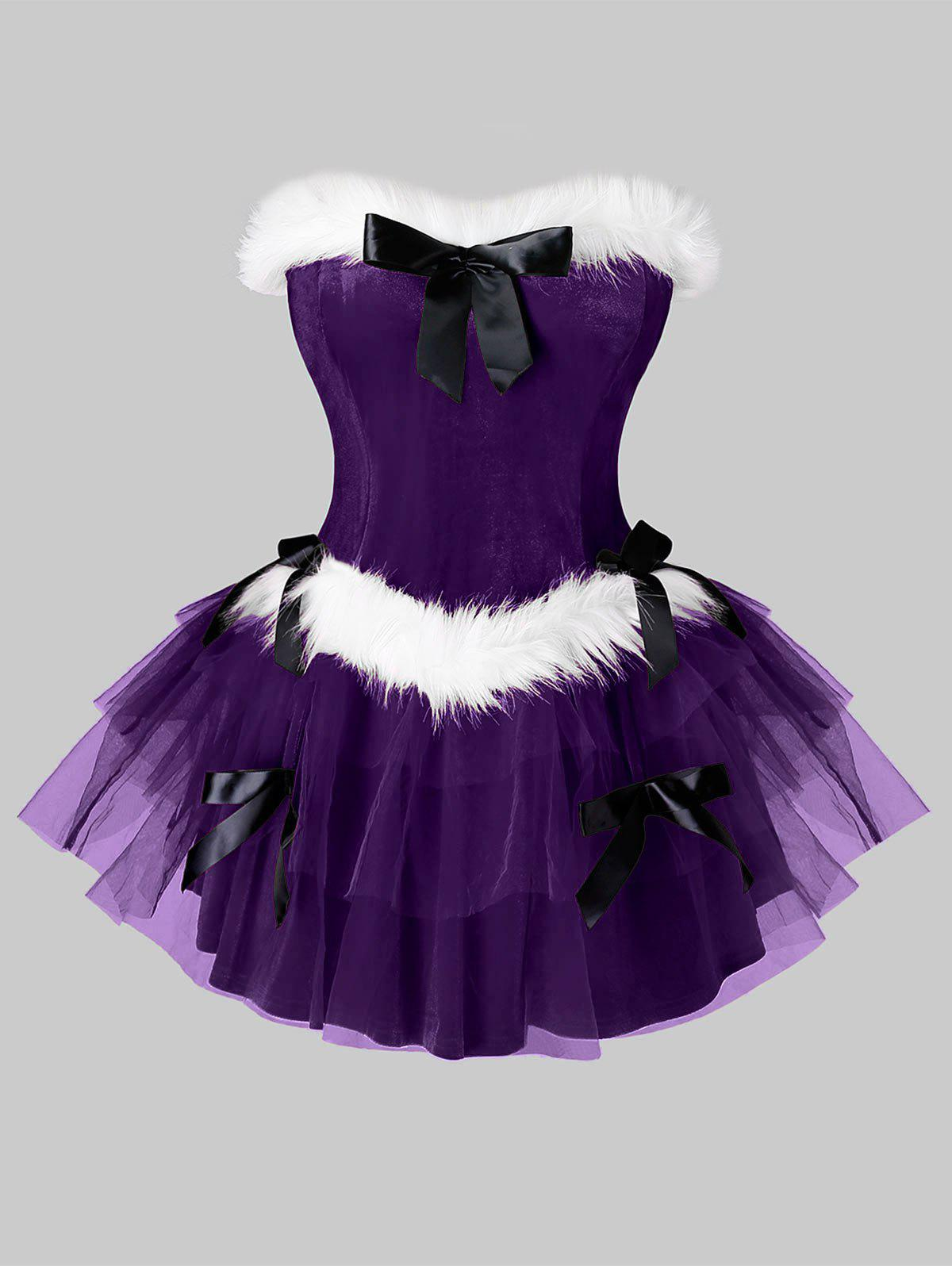 Plus Size Bandeau Velvet Mini Layered Christmas Dress - PURPLE IRIS L