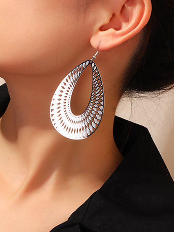 Geometric Hollow Out Water Drop Earrings - SILVER