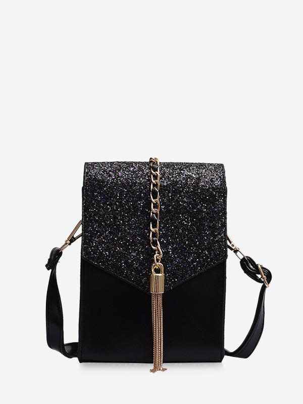 Tassel Mini Chain Crossbody Bag - BLACK