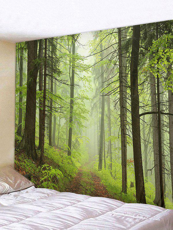Mist Forest Trail Print Tapestry Wall Hanging Art Decoration - GREEN ONION W91 X L71 INCH
