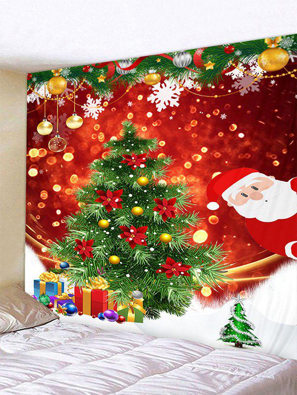 Christmas Tree Gifts Santa Claus Print Tapestry Wall Hanging Art Decoration - multicolor W59 X L51 INCH