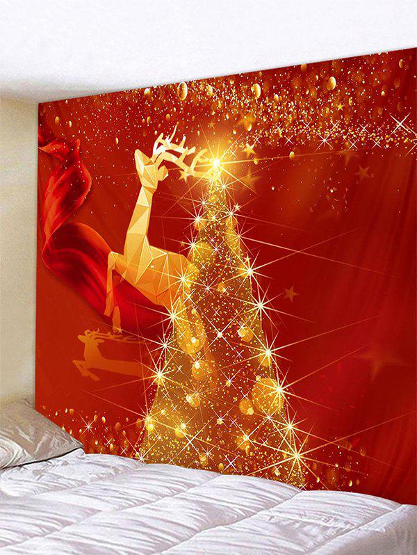 Christmas Deer Tree Pattern Tapestry Wall Hanging Art Decoration - multicolor W79 X L71 INCH