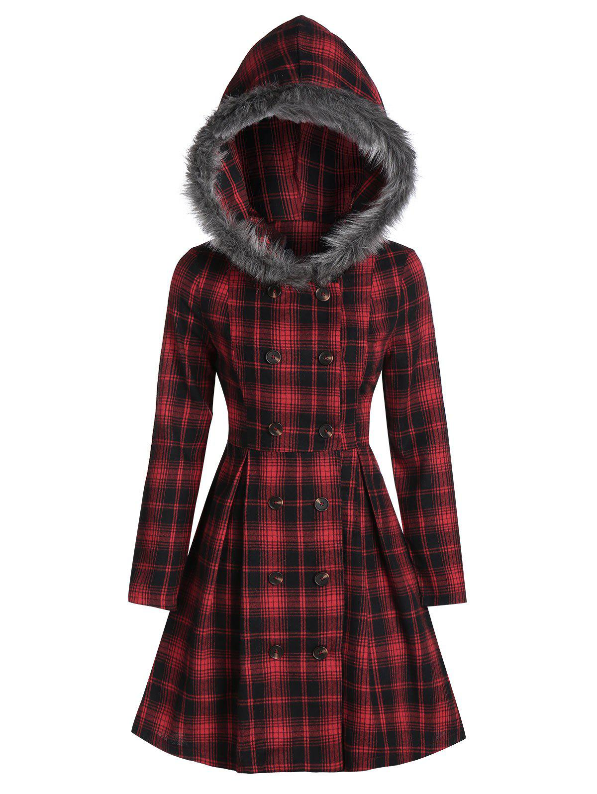 Double Breasted Fur Hooded Long Coat - multicolor A M