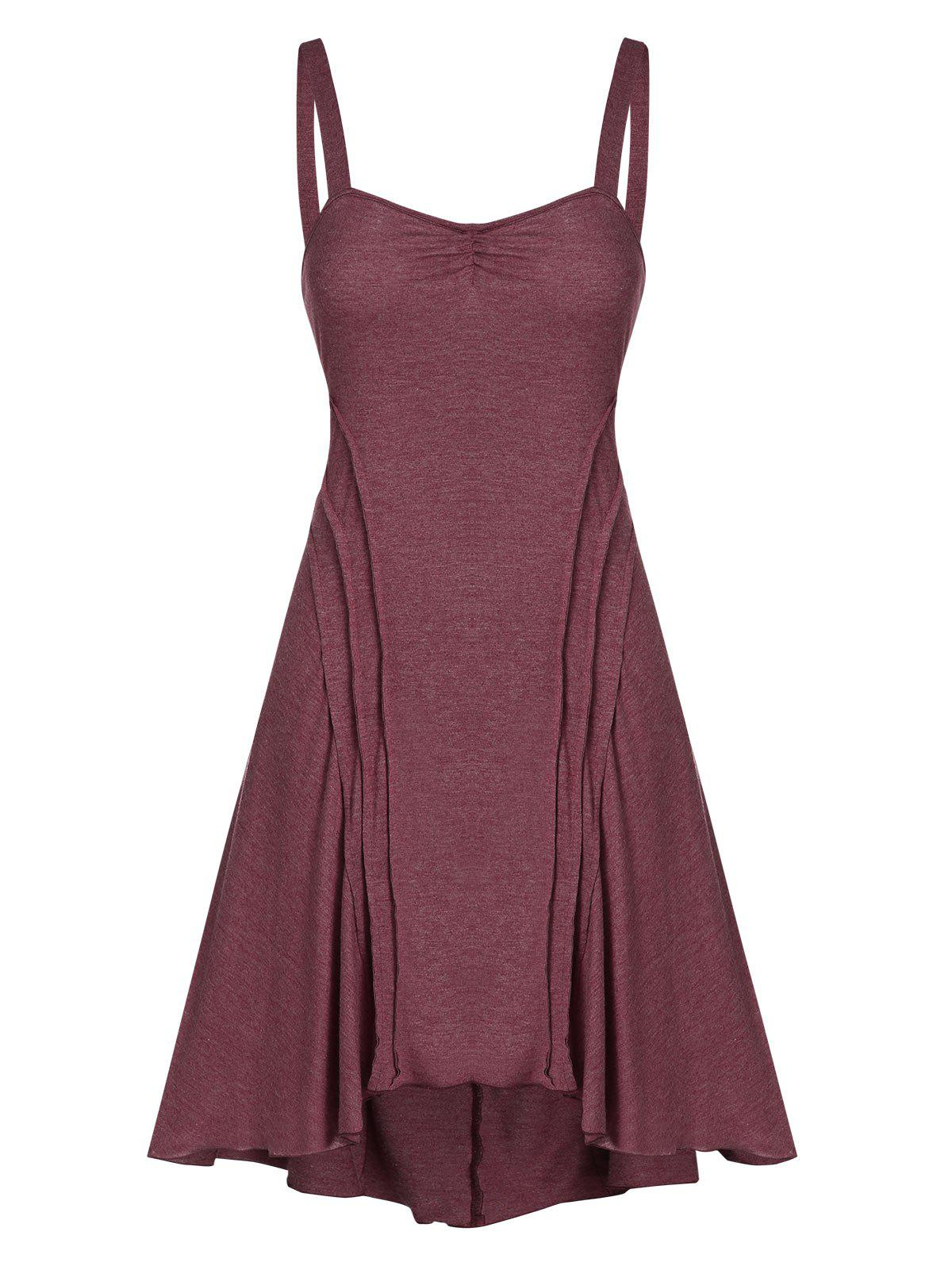 Fit And Flare Knitted Sweetheart Collar Strap Dress - FIREBRICK 3XL