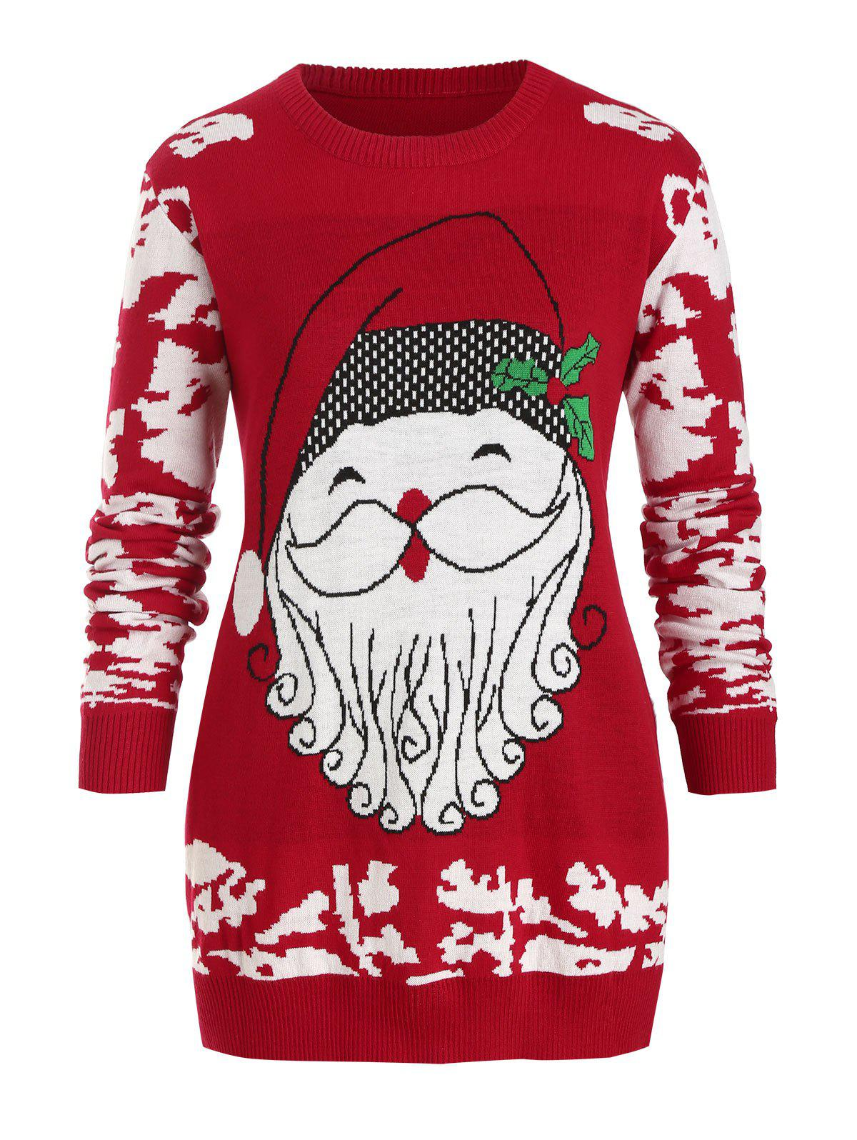 Crew Neck Santa Claus Christmas Plus Size Sweater - RED L