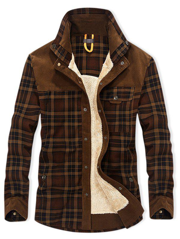 Plaid Print Button Up Fleece Jacket - COFFEE XL
