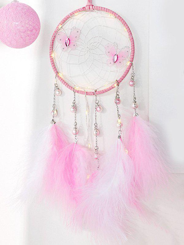 Faux Feather Butterfly Artificial Pearl Dream Catcher - PIG PINK