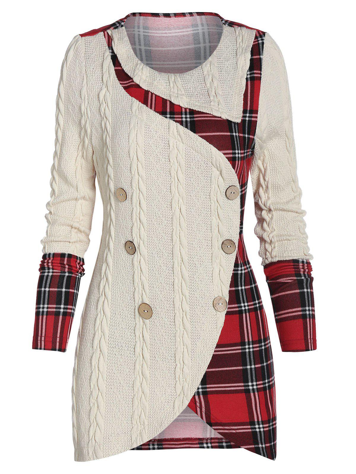 Plaid Panel Mock Button High Low Sweater - multicolor 3XL
