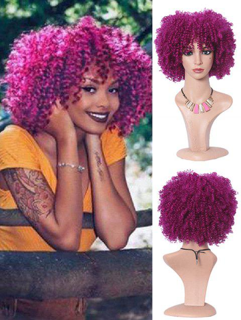 Medium Wild Afro Curl Synthetic Cosplay Party Wig - PLUM PIE 14INCH