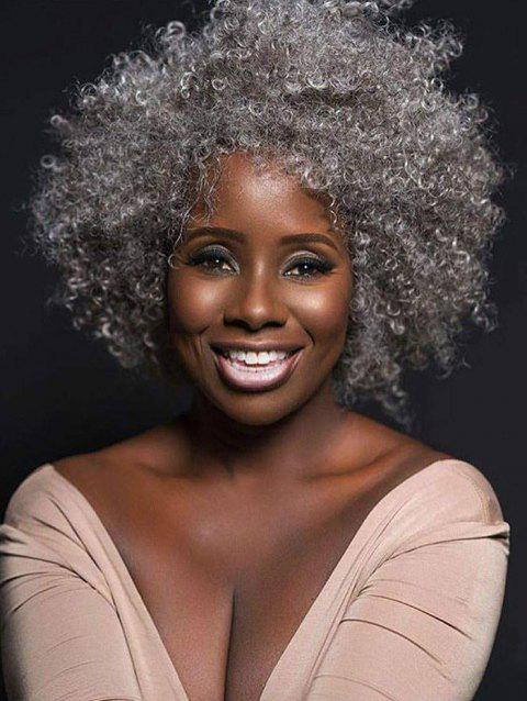Afro Wild Curl Synthetic Medium Wig - GRAY GOOSE 14INCH