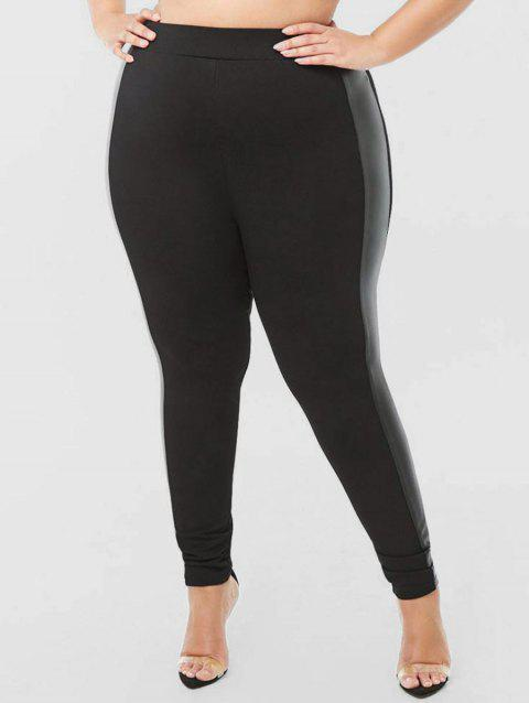 High Waisted Side Faux Leather Panel Plus Size Leggings - BLACK 4X