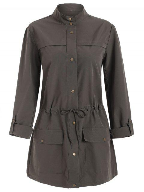 Double Pockets Toggle Drawstring Button Up Trench Coat - PUCE XL