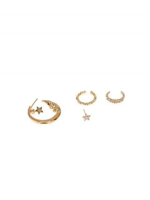 4Pcs Asymmetrical Rhinestone Moon Stars Earrings Set