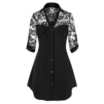 Plus Size Roll Up Sleeve Lace Insert Shirt