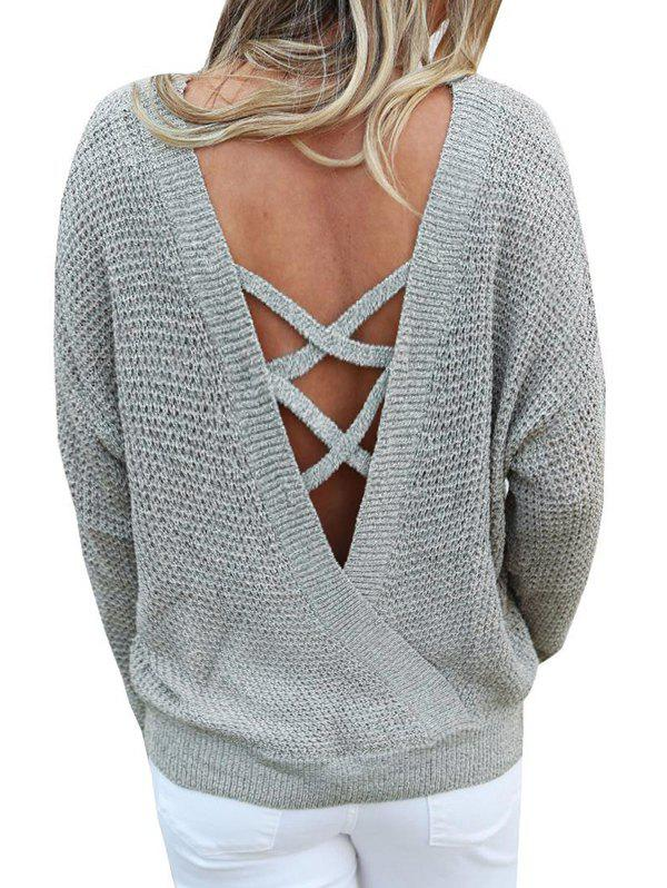 Criss Cross Solid Convertible Sweater - GRAY CLOUD XL