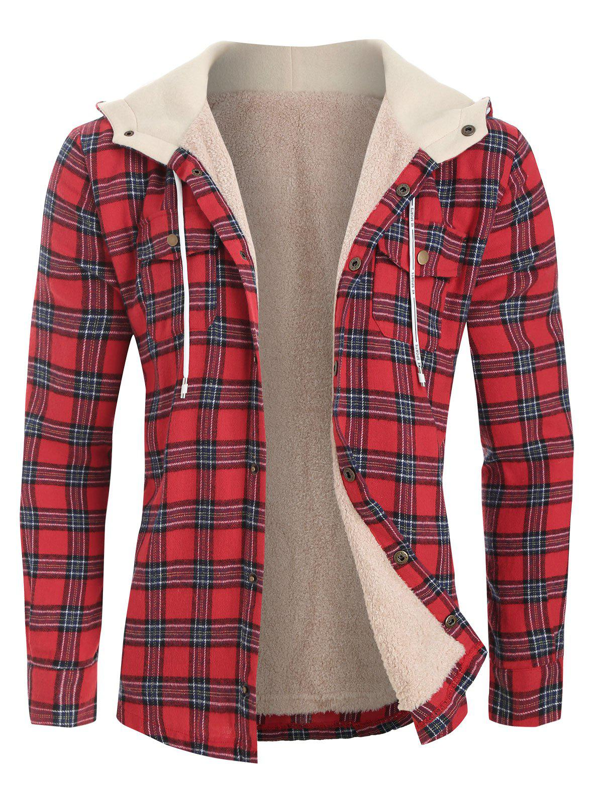 Plaid Chest Pocket Fleece Hooded Jacket - RED 2XL