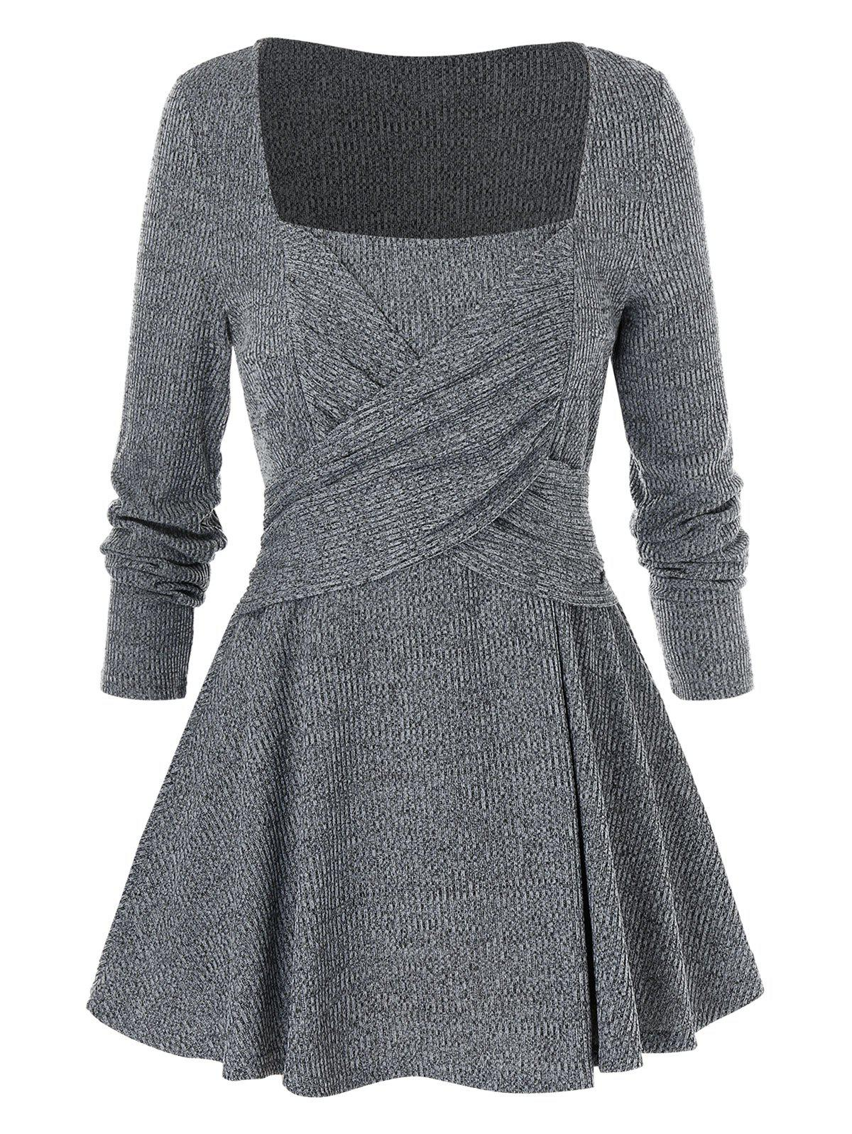 Plus Size Solid Square Collar Tunic Sweater - DARK GRAY 4X