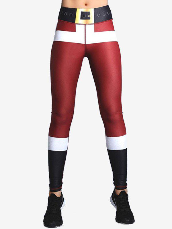 Printed Mid taille Leggings Noël - Rouge XL