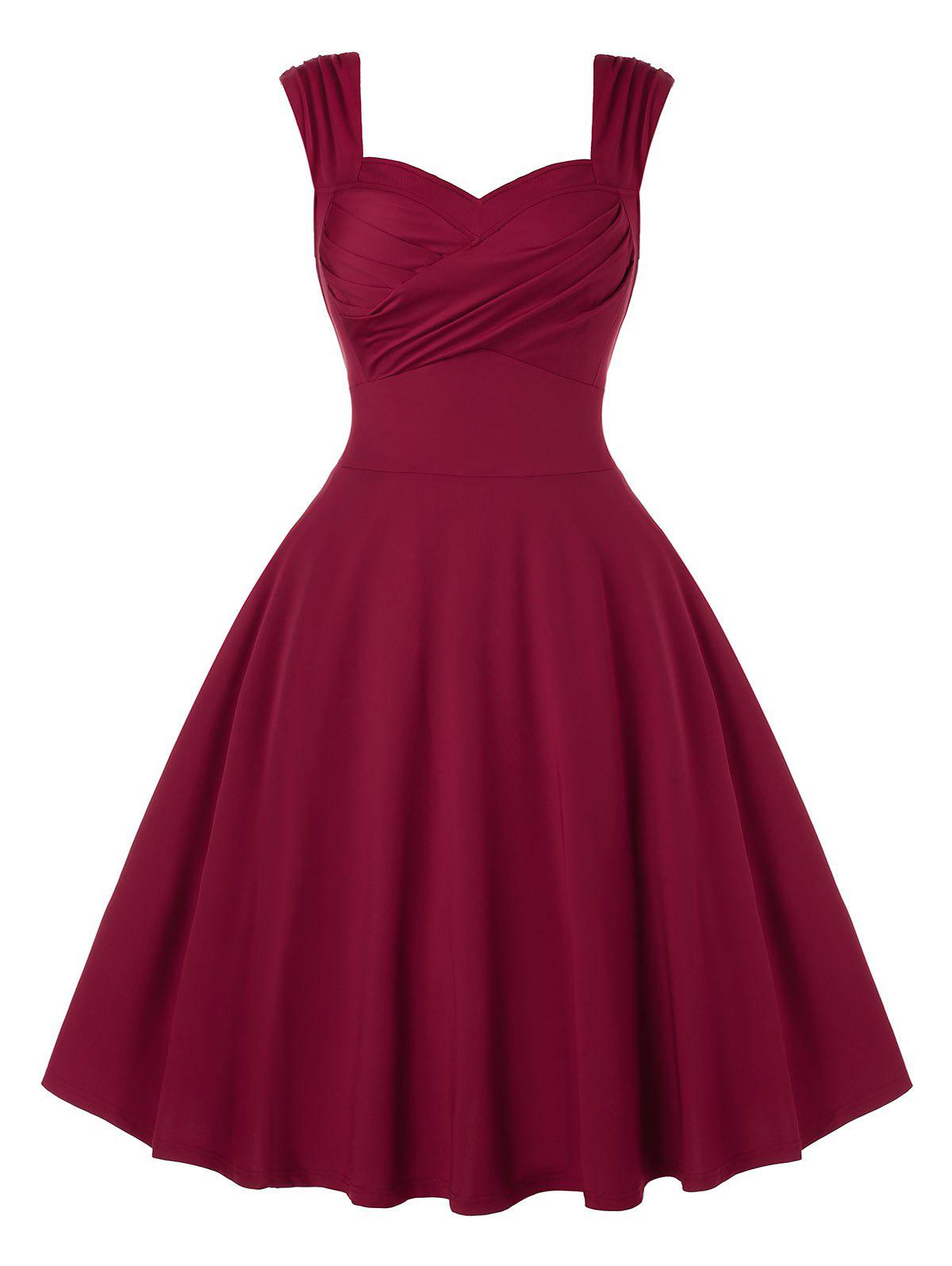 Plus Size Sweetheart Collar Sleeveless Dress - RED WINE 4X