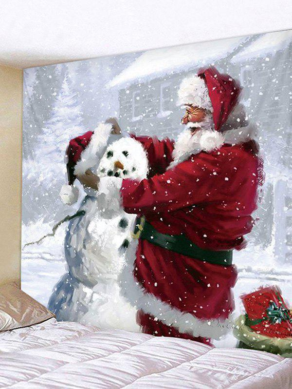 Christmas Santa Claus Snowman Wall Tapestry - multicolor W79 X L71 INCH