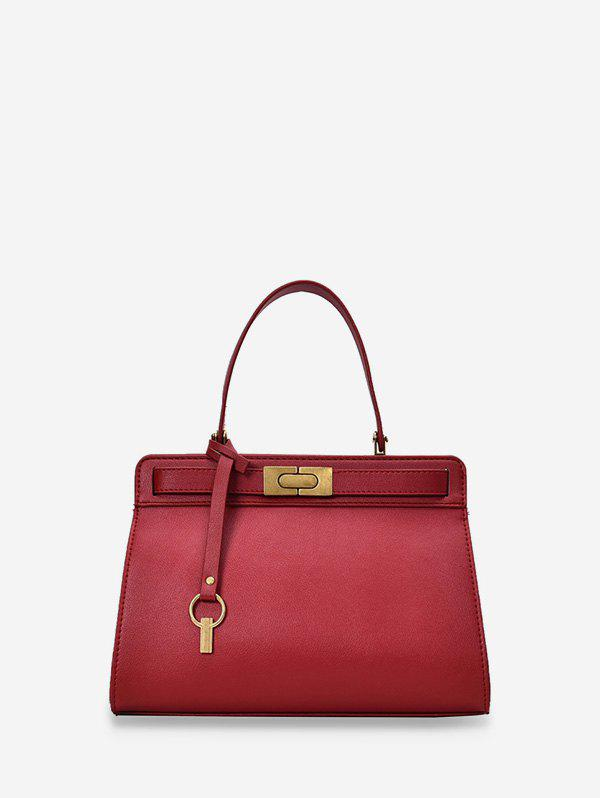 Metal Accent PU Leather Tote Bag - RED