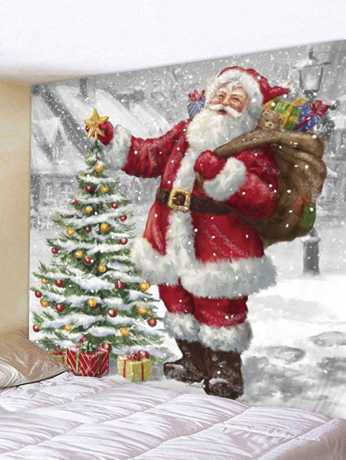 Christmas Tree Santa Claus Wall Tapestry - multicolor W79 X L71 INCH