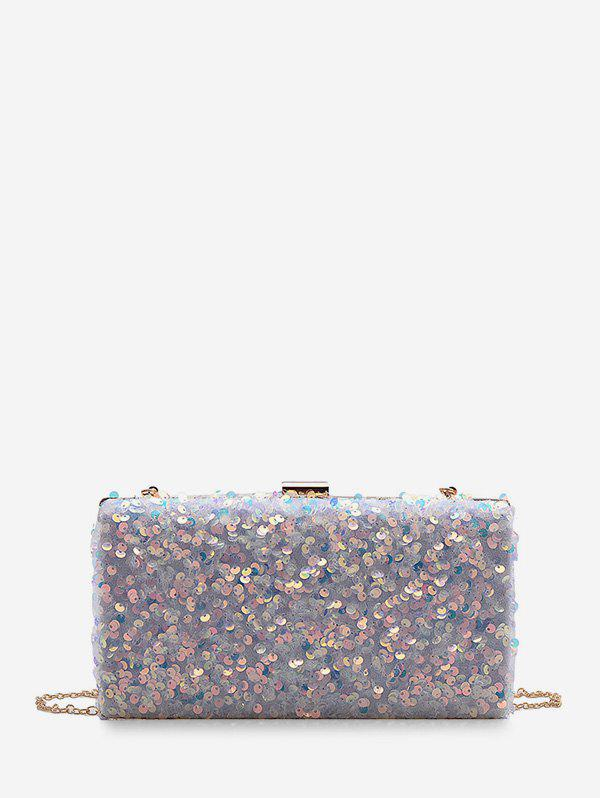 Glitter Sequined Mini Sling Bag - WHITE