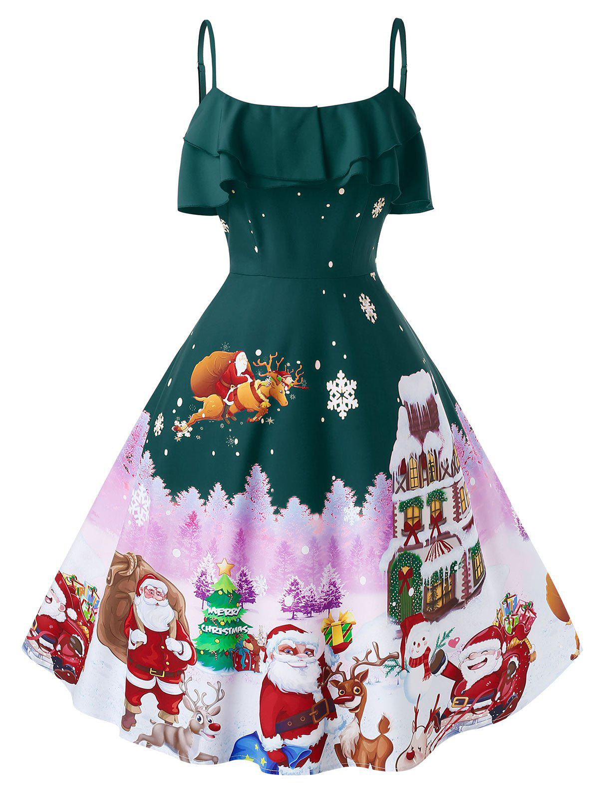 Plus Size Christmas Vintage Printed Pin Up Dress - DARK FOREST GREEN L