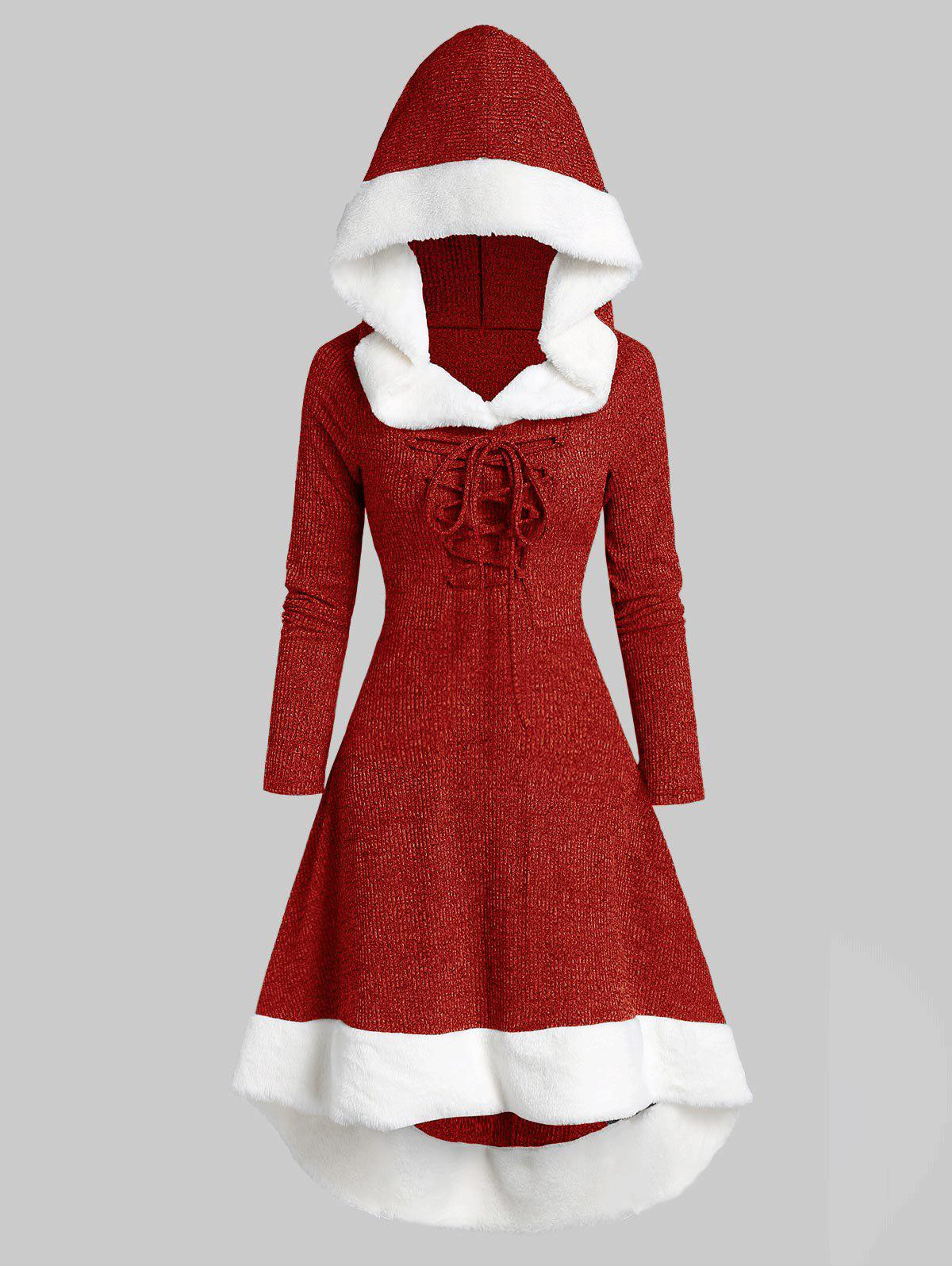 Hooded Lace Up Faux Fur Panel Marled Asymmetrical Dress - RED S