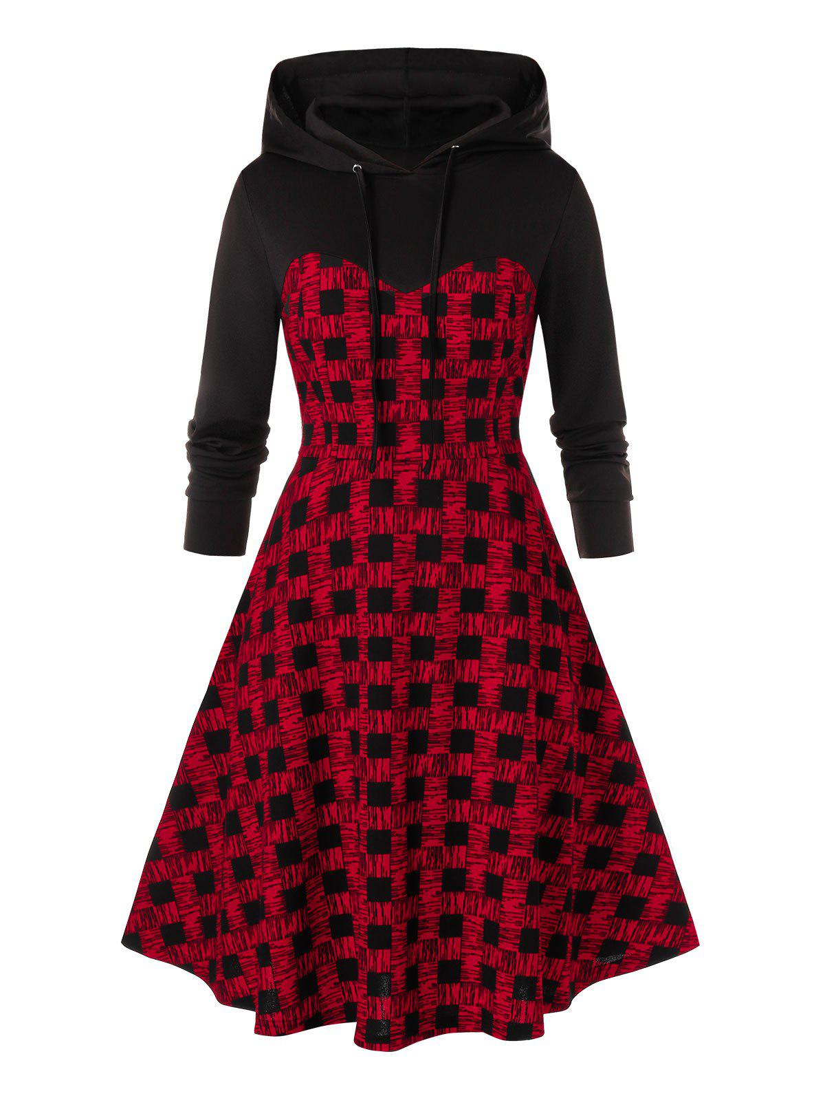 Plaid A Line Plus Size Hoodie Dress - BLACK 2X