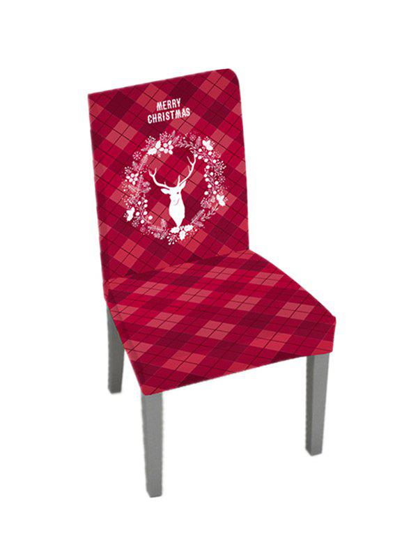 Christmas Wreath Elk Plaid Pattern Chair Cover - multicolor W16 X L24 INCH