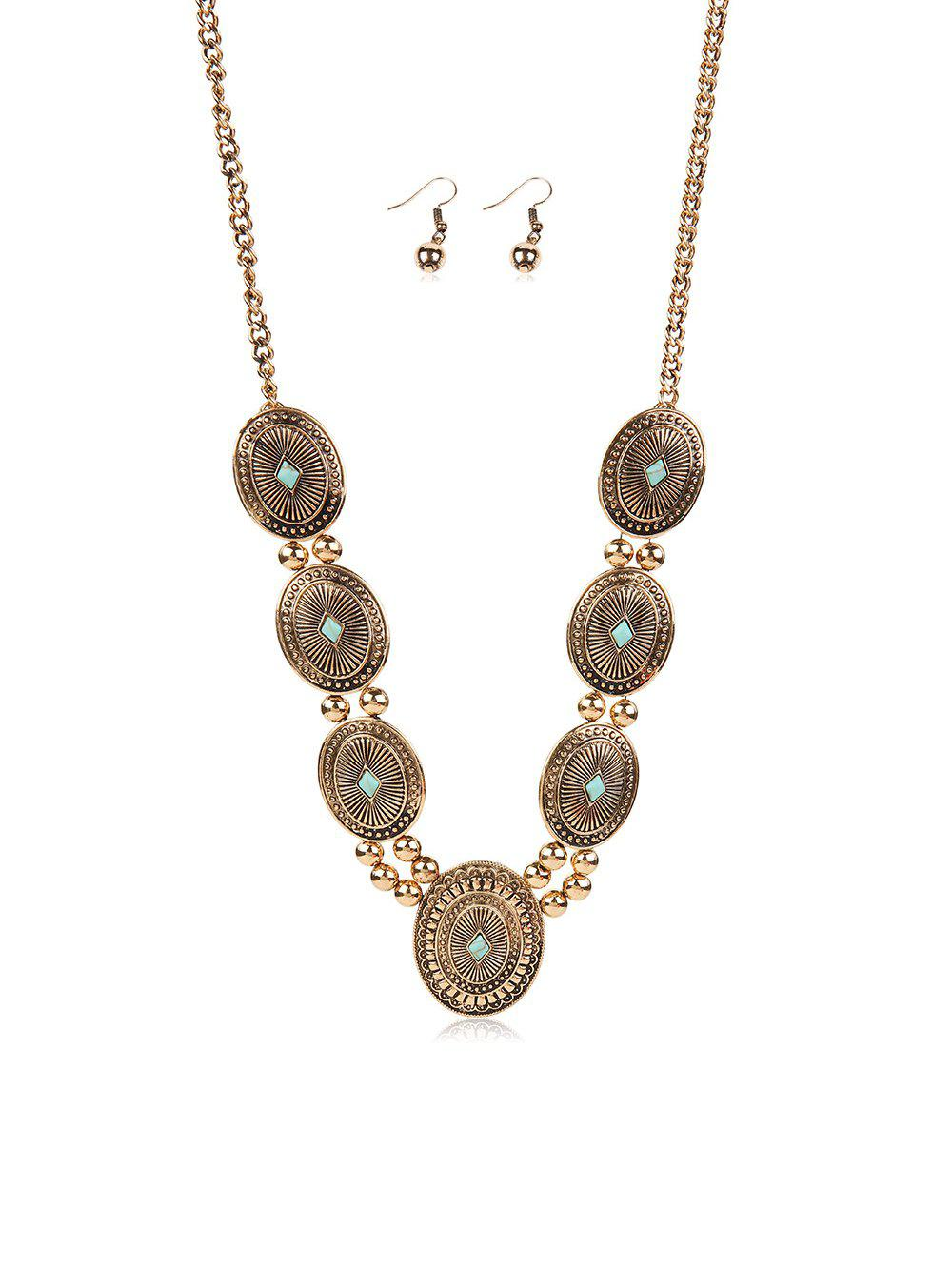 Ethnic Carved Geometric Turquoise Jewelry Set - GOLD